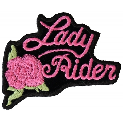 Image P2526PINK Pink Lady Rider Rose Biker Patch