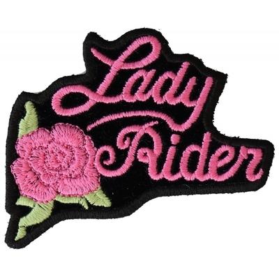 P2526PINK Pink Lady Rider Rose Biker Patch