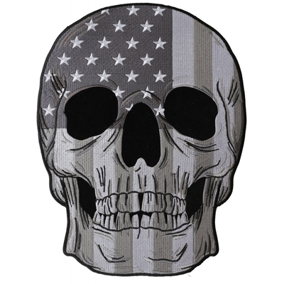 Image PL6031 Skull Subdued American Flag Embroidered Iron on Patch