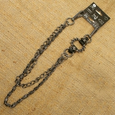 Image WA-WC7030 Spike ring Wallet Chain with gray double chain