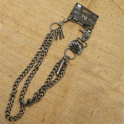 Image WA-WC7031 Wallet Chain with a skull / guns / bullet designs, double chain