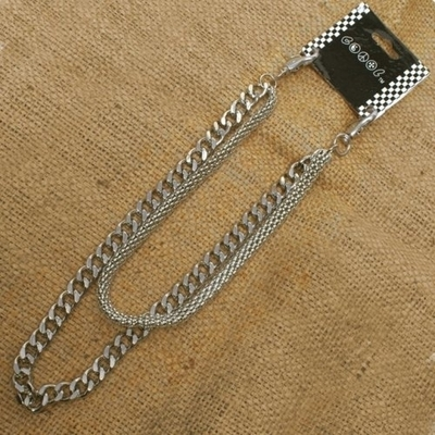 Image WA-WC770W Chrome Wallet Chain with double chain, mesh and medium link chain
