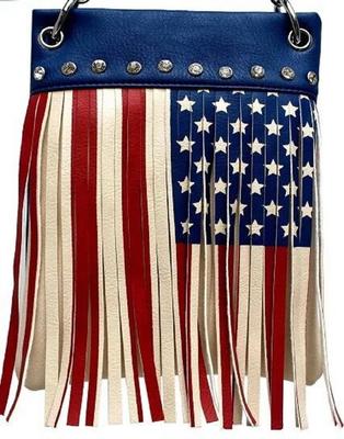 Image CHIC410-BLUE crossbody handbag - American FLAG Fringe