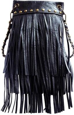 Image CHIC1000-BLK crossbody handbag - Fringe 3 layer with Antique Copper metal