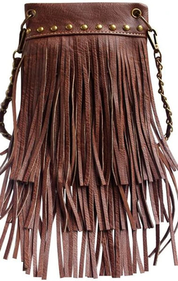 Image CHIC1000-DKBR crossbody handbag - Fringe 3 layer with Antique Copper metal