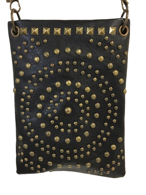 Image CHIC1001-BLK crossbody handbag - Antique bronze hardware in circle design