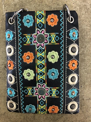 Image CHIC266-BLK Western feel and multi embroidery design crossbody handbag