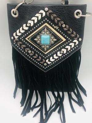 Image CHIC728-BLK crossbody handbag - FRINGE with crystals