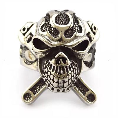 Image R3001 Stainless Steel X Skull Biker Ring