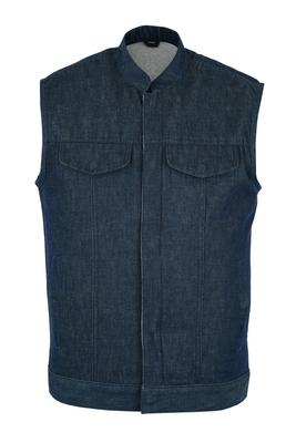 Image DM976 Men's Blue Rough Rub-Off Raw Finish Denim Vest