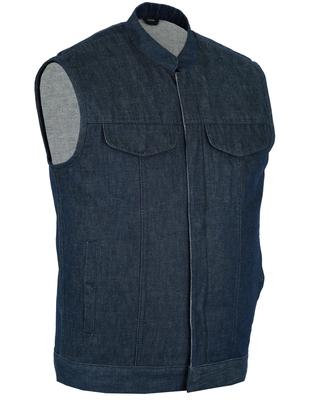 DM976 Men's Blue Rough Rub-Off Raw Finish Denim Vest