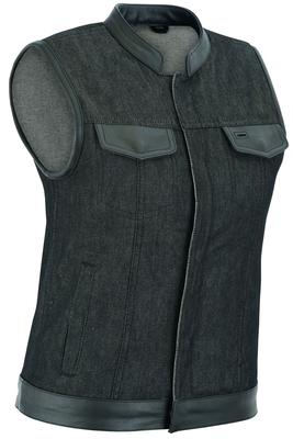 DM963 Women's Rough Rub-Off Raw Finish Denim Vest W/Leather Trim