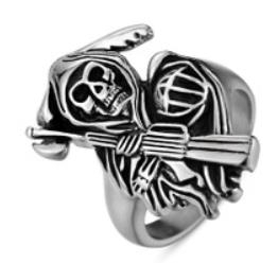 Image R103 Stainless Steel Reaper Biker Ring