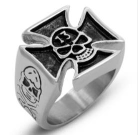 Image R106 Stainless Steel Skull 13 Biker Ring