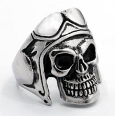 R107 Stainless Steel Biker Skull Biker Ring
