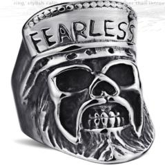 Image R110 Stainless Steel Fearless Skull Biker Ring