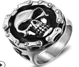 Image R113 Stainless Steel Biker Chain Skull Face Biker Ring