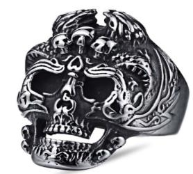 Image R114 Stainless Steel Skelator Skull Face Biker Ring