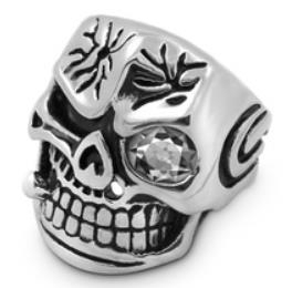 Image R117 Stainless Steel Smash Face Skull Biker Ring