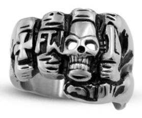 Image R119 Stainless Steel Fist Face Skull Biker Ring