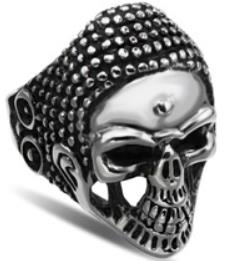 Image R123 Stainless Steel War Head Skull Biker Ring