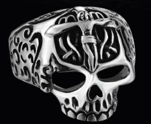 Image R124 Stainless Steel Jesus Cross Skull Biker Ring