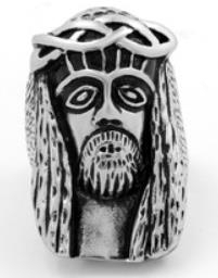 Image R125 Stainless Steel Jesus Face Skull Biker Ring