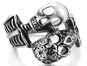 Image R126 Stainless Steel His And Her Skull Biker Ring