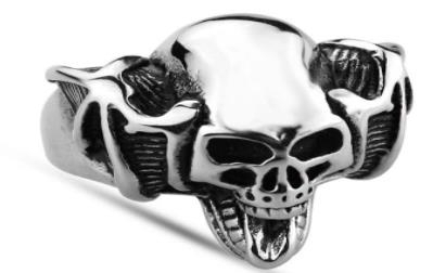 Image R128 Stainless Steel Handle Bar Skull Biker Ring