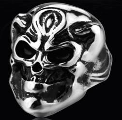 Image R129 Stainless Steel Smiling Skull Biker Ring
