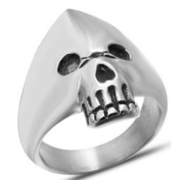 R130 Stainless Steel Hooded Skull Biker Ring