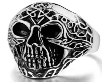 R131 Stainless Steel Forward Face Skull Biker Ring