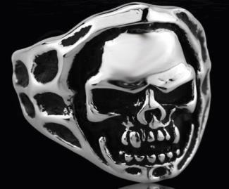 R132 Stainless Steel Open Face Skull Biker Ring