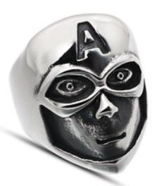 R133 Stainless Steel Hero Skull Biker Ring