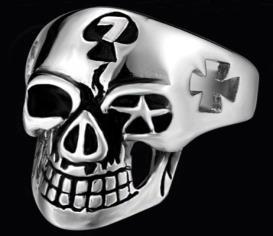 R135 Stainless Steel Symbols Skull Biker Ring