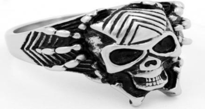 R136 Stainless Steel Web Face Skull Biker Ring