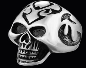 R137 Stainless Steel Big Head Skull Biker Ring