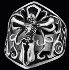 R138 Stainless Steel Skeleton Skull Biker Ring