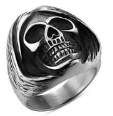 R139 Stainless Steel Sleepy Head Skull Biker Ring