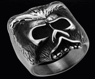 R140 Stainless Steel Bearded Skull Biker Ring