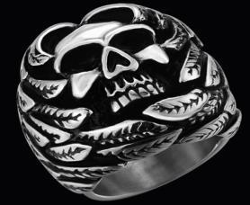 R141 Stainless Steel Feather Face Skull Biker Ring