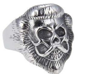 R143 Stainless Steel Lion Face Skull Biker Ring