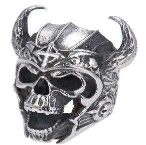 R144 Stainless Steel Warrior Skull Biker Ring