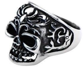 R145 Stainless Steel Fish Tail Skull Biker Ring