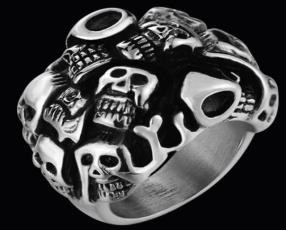 R146 Stainless Steel Many Faces Skull Biker Ring