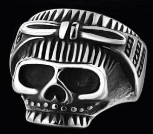 R147 Stainless Steel Biker Chick Skull Biker Ring