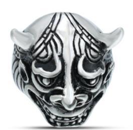 R148 Stainless Steel Devil Face Skull Biker Ring