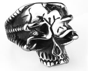 R149 Stainless Steel Broken Skull Face Skull Biker Ring