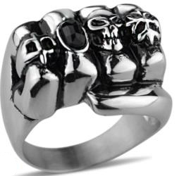 Image R153 Stainless Steel Ring Fist Biker Ring