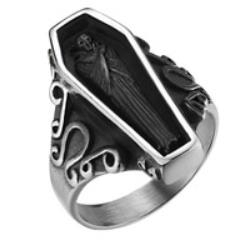 Image R154 Stainless Steel Coffin Biker Ring
